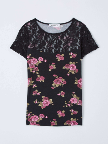 Picture of Floral t-shirt with lace insert
